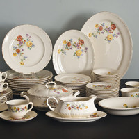 Crooksville China, 68pc Dinnerware Set, Table and Serving Pieces, Bouquet, Multicolored Floral