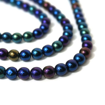 Czech Glass Beads, Iris Blue Metallic, 6mm round, Full bead strand, 876G
