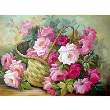 New 25*30cm DIY 5D Chinese Rose Stitch Kit Crystal Diamond Embroidery Painting Cross Stitch Home Decor Craft Free Shipping
