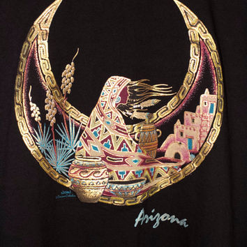 vintage gold metallic arizona shirt - iridescent reflective - native american - crescent moon - desert plants - southwest - art tee - golden