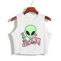 Alien Stay Rad Print Women Crop Top Summer Slim Shirt For Lady Tank Top Tee Hipster White Yong Drop Ship TZ203-39
