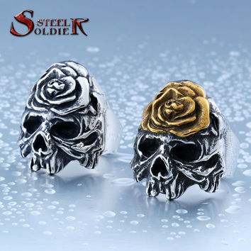 steel soldier new style fashion gold rose skull ring stainless steel popular jewelry