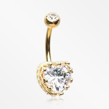 Golden Princess Crown Prong Heart Sparkle Belly Button Ring
