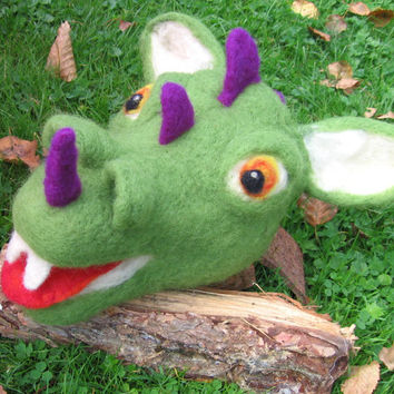 Needle felted dragon. Needlefelt dragon. Dragon hand puppet. Big handmade funny hand puppet. Storytelling puppet.