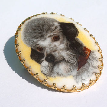 Vintage Poodle Brooch, Porcelain Brooch, WEST GERMANY, Vintage Dog Brooch,Oval Brooch,Vintage Pin, Cameo Poodle Pin, Gift Idea for Dog Lover