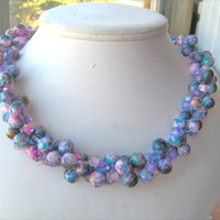 Lilac mauve glass beaded necklace size 18