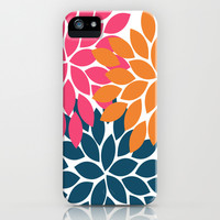 Bold Colorful Orange Navy Pink Dahlia Flower Burst Petals iPhone & iPod Case by TRM Design