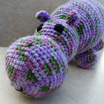 """Handmade Crochet Purple and Green Hippo Soft Toy. Over 11"""" long. Gift for baby. Gift for hippo lover"""