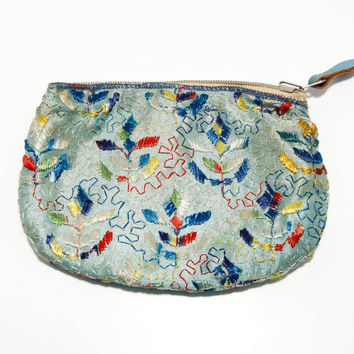 Boho Chic Dance Purse Clutch Colorful Blue with Embroidered Flowers Needlework
