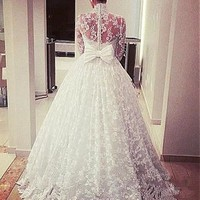 [238.99] Attractive Tulle & Lace Illusion High Neckline A-Line Wedding Dresses With Bow - dressilyme.com