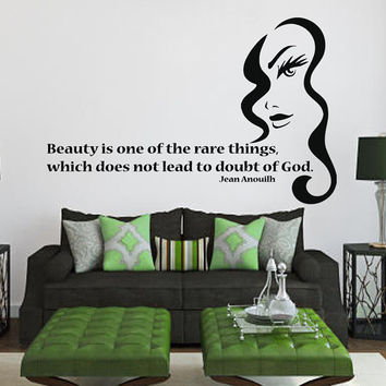 Wall Decals Vinyl Decal Quote Beauty Is One Of The Rare Things... Fashion Girl Home Vinyl Decal Sticker Kids Nursery Baby Room Decor kk101