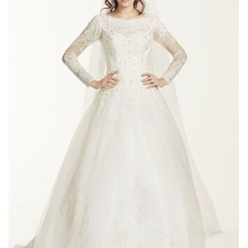 Jewel Long Sleeve Drop-Waist Tulle Wedding Dress - Davids Bridal