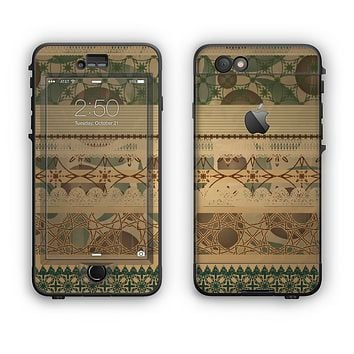 The Horizontal Tan & Green Vintage Pattern Apple iPhone 6 Plus LifeProof Nuud Case Skin Set