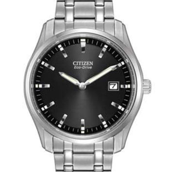 Citizen Eco-Drive Mens Date Watch - Stainless Steel - Black Dial - Bracelet