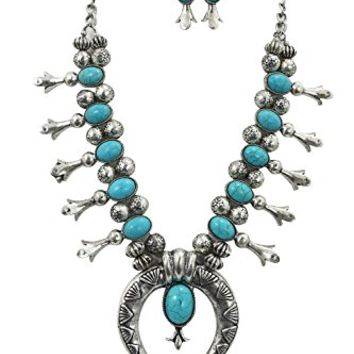 Southwestern Faux Turquoise Squash Blossom Statment Necklace and Earrings Set