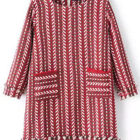 Red White Vertical Stripe Pockets Dress