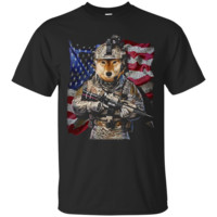 USA America Patriot Shiba Inu Dog as Army Commando T-Shirt