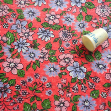 bright pink floral print vintage cotton sailcloth fabric -- 44 wide by 2 1/2 yards