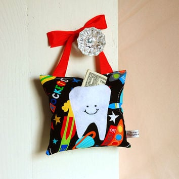 Boys Tooth Fairy Pillow in Space Rocket Ship by BoutiqueVintage72