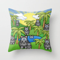 Happy Hippos  Throw Pillow by Digi Treats 2  | Society6