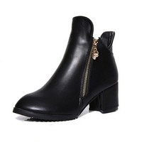 MP Black Heeled Zip Side Ankle Boots 042413 SDP 0603 Size US 6