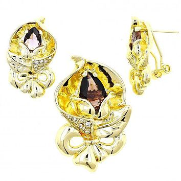 Gold Layered Earring and Pendant Adult Set, Bow and Flower Design, with Cubic Zirconia and Crystal, Golden Tone