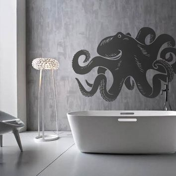 ik1197 Wall Decal Sticker octopus marine animals bathroom