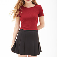 FOREVER 21 Pleated Scuba Knit Skirt Black