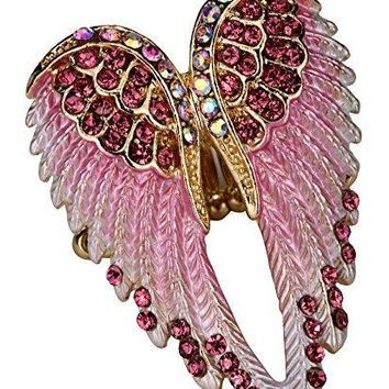 YACQ Jewelry Womens Crystal Angel Wings Stretch Rings Biker Jewelry Scarf Ring Buckle Clip