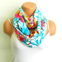 multicolored flower Infinity Scarves,nomad scarf,,Loop Scarf,Circle Scarf, Multi-color cotton fabric Scarf,Cowl Scarf, eternity Scarf