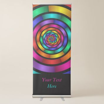 Round Psychedelic Colorful Modern Fractal Art Text Retractable Banner