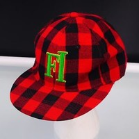 Baseball Cap Future Infinity FI Red Plaid Fitted KB Ethos Size XL Hat