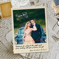 "50 Wedding Thank You Magnets - NorthCreek Vintage Photo Personalized 4.25""x5.5"""