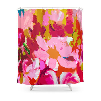 Society6 Abstracted Flower Painting In Hot Pink, Red, Spring Green Shower Curtains