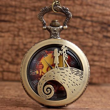 New Arrival Nightmare Before Christmas Pocket Watch Sally with Jack Skellington Hollow Steampunk Watch with Fob Necklace Gifts