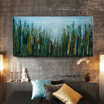 Abstract Cityscape Wall Art Painting on Canvas,Large abstract cityscape wall art modern home decor, Architecture City Scape Artwork, Nandita