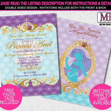 Princess Ariel Invitations, Disney Princess Invitations, Little Mermaid Invitations, Princess Party Invitations, Ariel Birthday Invitation