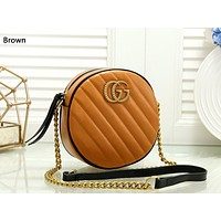 Free Shipping-GUCCI new women's wild round cake bag chain bag Messenger bag brown