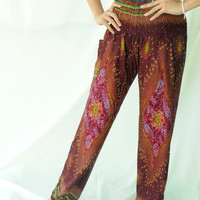 Gypsy Pants - boho pants harem pants plus size pants peacock design one size fits elastic waist ankle for women