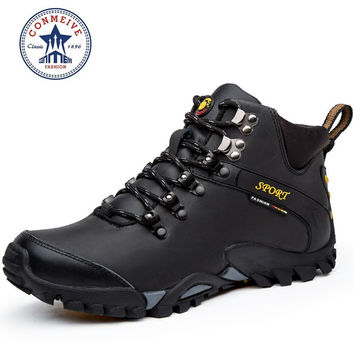 new hiking shoes outdoor boots sport sneakers men climbing waterproof sportive lace-up genuine leather Rubber