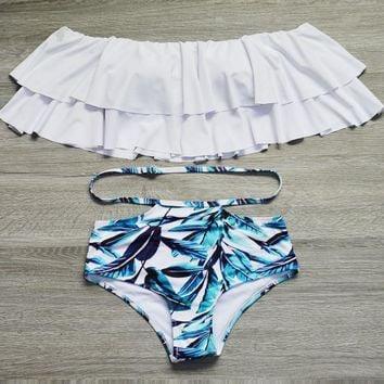 Two-piece swimwear leaf bikini set