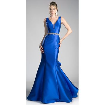 Royal Blue Green Mermaid Evening Gown with Rhinestone-Waist