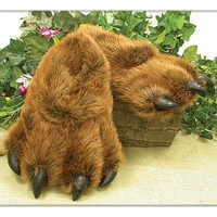 Medium Brown Grizzly Bear Paw Slippers
