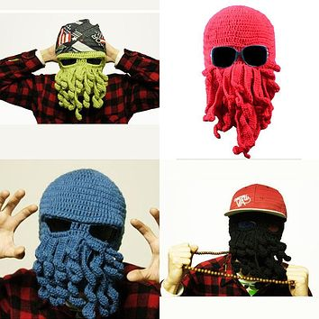 Hot Aliexpress Novelty Handmade Knitting Wool Funny Beard Octopus Hats Caps Crochet Knight Beanies For Men Unisex Gift DP850706