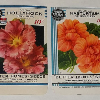 Vintage Flower Seed Packages, Hollyhock Nasturtium, c1934, Rochester NY