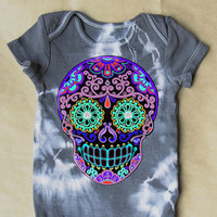 Purple Skull Romper. Tiedye Dark Gray Baby Toddler sugar skull creeper. Trendy one-piece baby clothes. Girl Boy Cute Printed