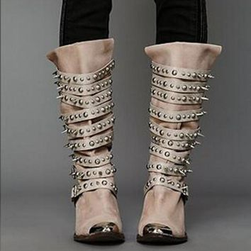 Choudory Botas Mujer Studded Seattle Western Cowboy  Boot Black Genuine Leather Thigh High Rain Biker Boots