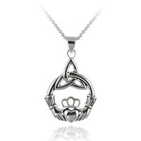 Sterling Silver Claddagh Celtic Knot Pendant Necklace with Rolo Chain, 18""