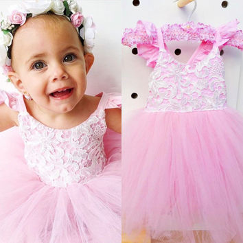 """The """"Giselle"""" Lace Pink Tulle Dress"""