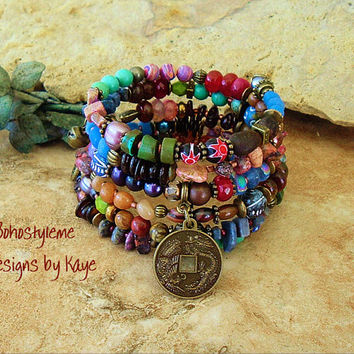 Boho Bracelet, Global Chic, Junk Gypsy, Colorful Layered Bracelet, Bohemian Jewelry, World Market, Bohostyleme Designs by Kaye Kraus